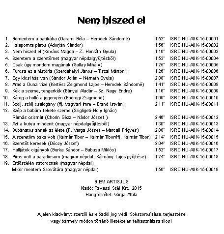 Nem hiszed el magyar nóta cd